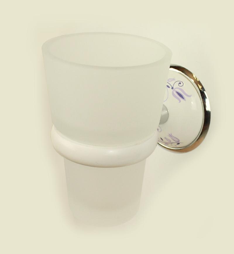 чаша за зъбни четки стъкло бяло хром