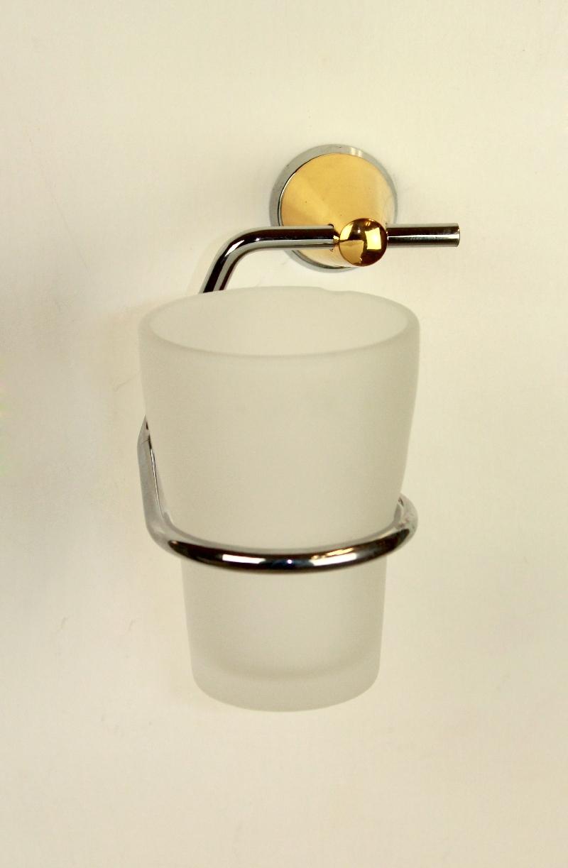 дозатор за течен сапун стъкло и месинг хром / злато