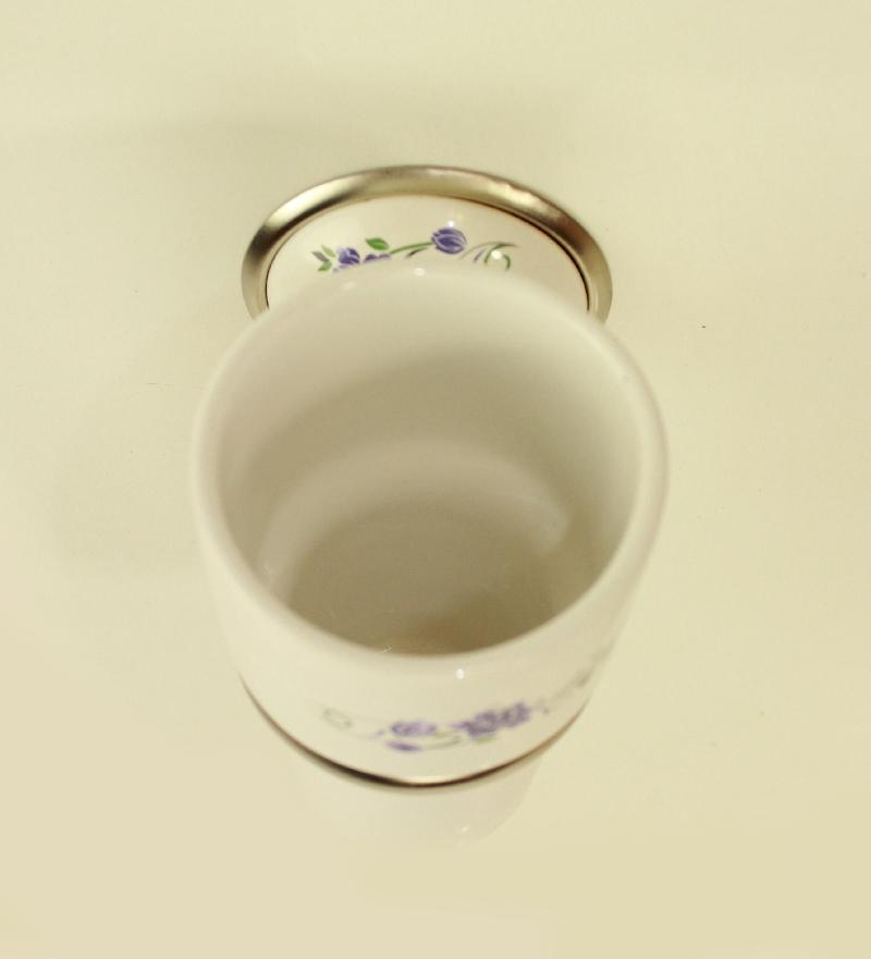 чаша за зъбни четки порцелан хром сатен