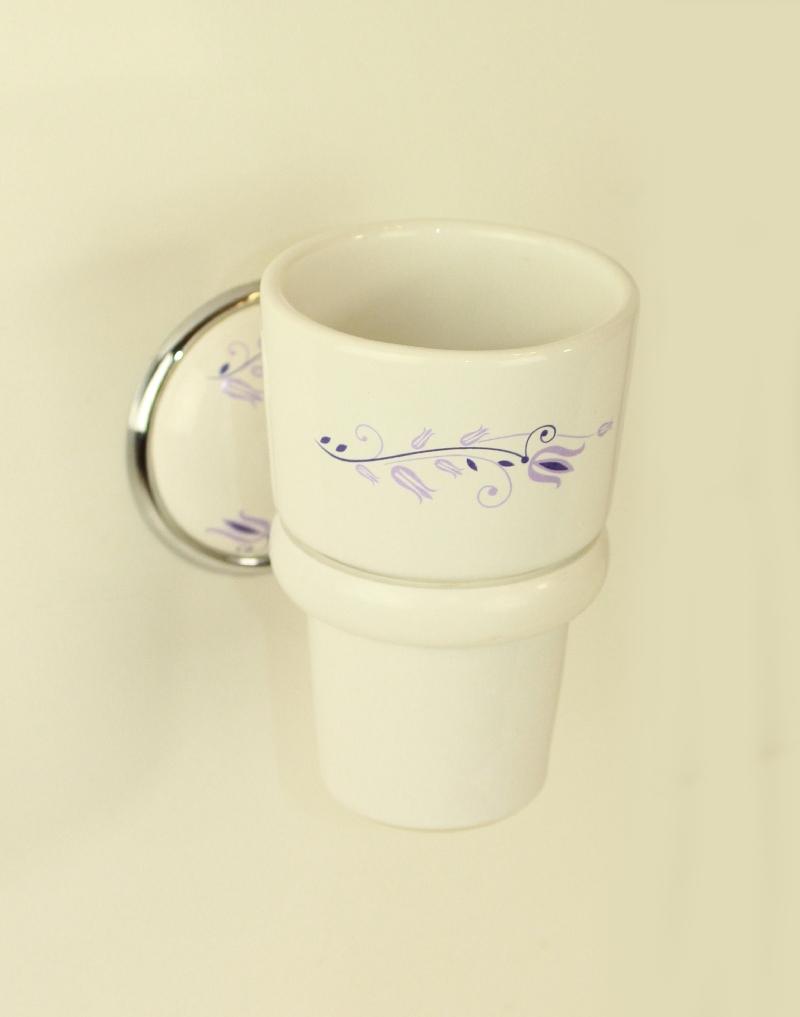 чаша за зъбни четки порцелан бяло хром