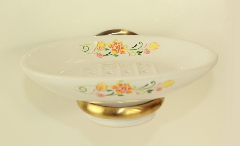 Държач на сапунера старо злато порцелан