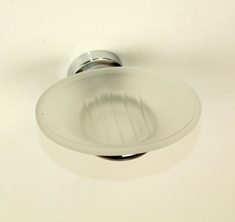 сапунера за баня от стъкло и месинг цветни