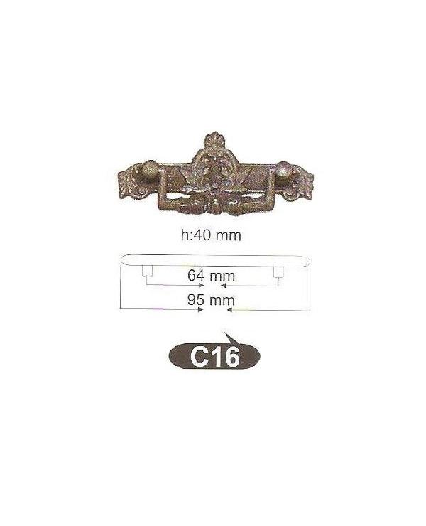 Мебелни дръжки месинг C16РАЗПРОДАЖБА-50%