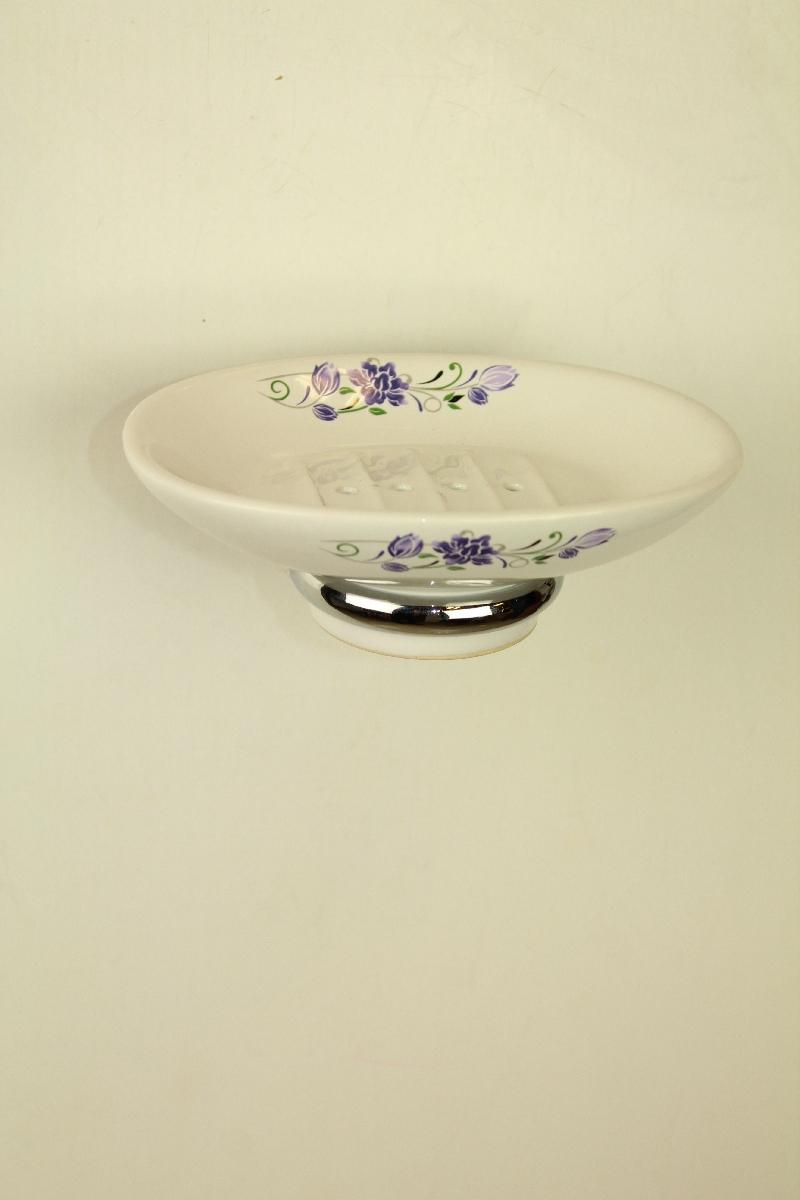 сапунера за баня порцелан и месинг хром - сатен