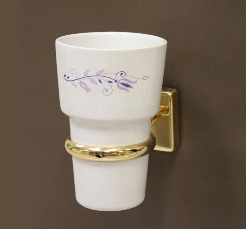 чаша за зъбни четки порцелан злато