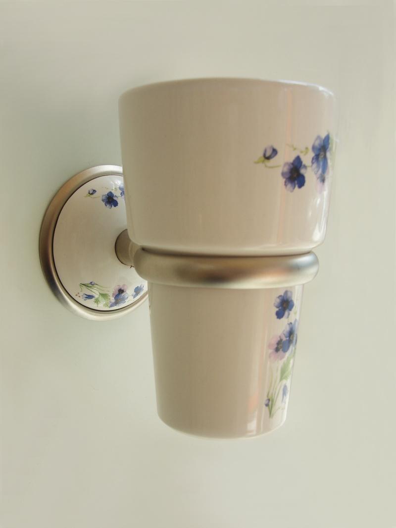 чаша за зъбни четки порцелан в синьо сатен