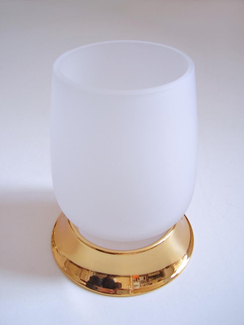 чаша за зъбни четки стояща стъкло злато