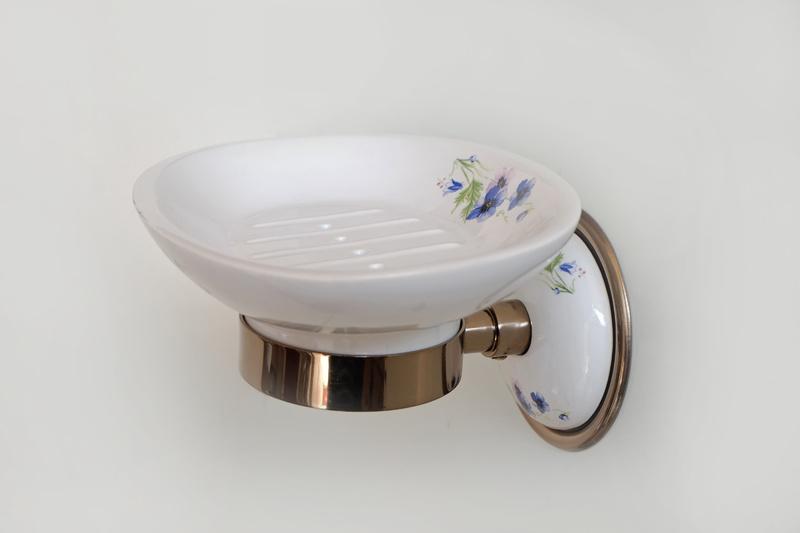 Аксесоари за баня от месинг/порц.-сапунера порцелан