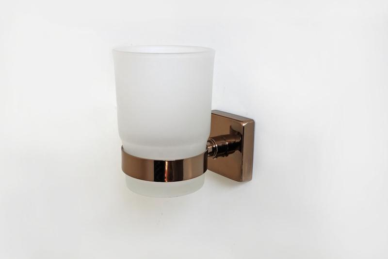 чаша за зъбни четки стъкло червено злато