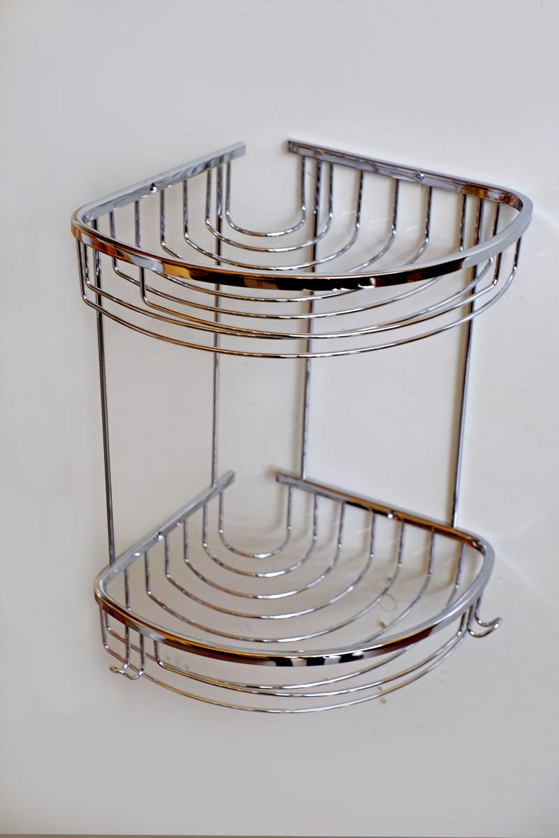 Етажерка-месинг 2на хром овал-закачалки,с обков