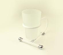 чаша за зъбни четки стояща бяло хром