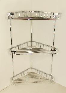 Мреж.етажерка за баня 3нива ъглова 18 х 18см  със закачалки.