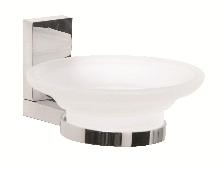сапунера за баня стъкло и месинг хром каре