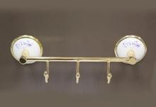Аксесоари за баня порцелан,закачалка тройна злато