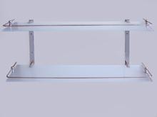 Стъклен стелаж за баня от месинг 2 нива 54см.