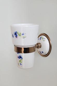 Аксесоари за баня от месинг/порц.-чаша порцелан