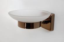 Аксесоари за баня месинг черв.злато сапунера стъкло