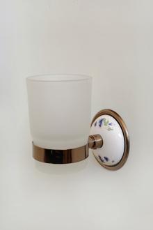 2.-----МОДЕЛ БОЛЕРО луксозни аксесоари за баня от месинг и порцелан, цвят червено злато НАМАЛЕНИЕ