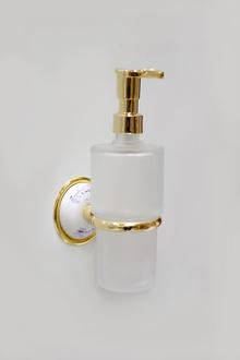 Д-ч стъклен доз.течен сапун месинг/порц.злато