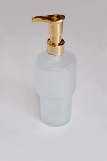 Дозатор теч.сапун стъкло/месинг позлатен стоящ