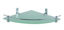 Стъклена етажерка за баня от месинг 1 ниво ъглова
