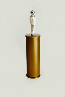Тоал.четка стояща ст.злато/хром-порцелан