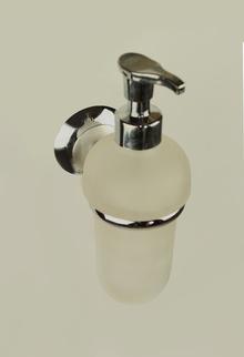 Алба.Аксесоари за баня,месинг,държ.доз.течен сапун стъклен